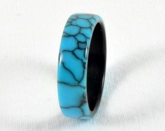 Wood Ring - Natural Stone and Wood Ring - Turquoise Web TruStone - Black Dyed Pear Bentwood liner - Wedding Band or Wedding Ring - Handmade