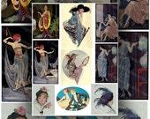Vintage Fashion Illustrations Art Deco 1920's Digital Collage Sheet Large Color Images Instant Printable Download