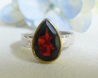 Teardrop Garnet Silver and Brass Ring