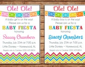 Boy or Girl Mexican Fiesta Baby Shower Bunting Pennant Party Birthday Invitation - DIGITAL FILE