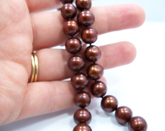 Deep coppery brown 8mm round Freshwater Pearl necklace AA Grade hand knotted silk brown freshwater pearls 12kt gold filled filigree clasp