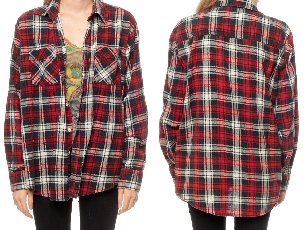 Oversized Plaid Shirt 90s Flannel Red Black White Checkered