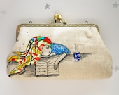 Reading Girl Clutch Bag Free Motion Embroidery(Cosmetic Case, Makeup Pouch, Travel Bag, Bag Belt)