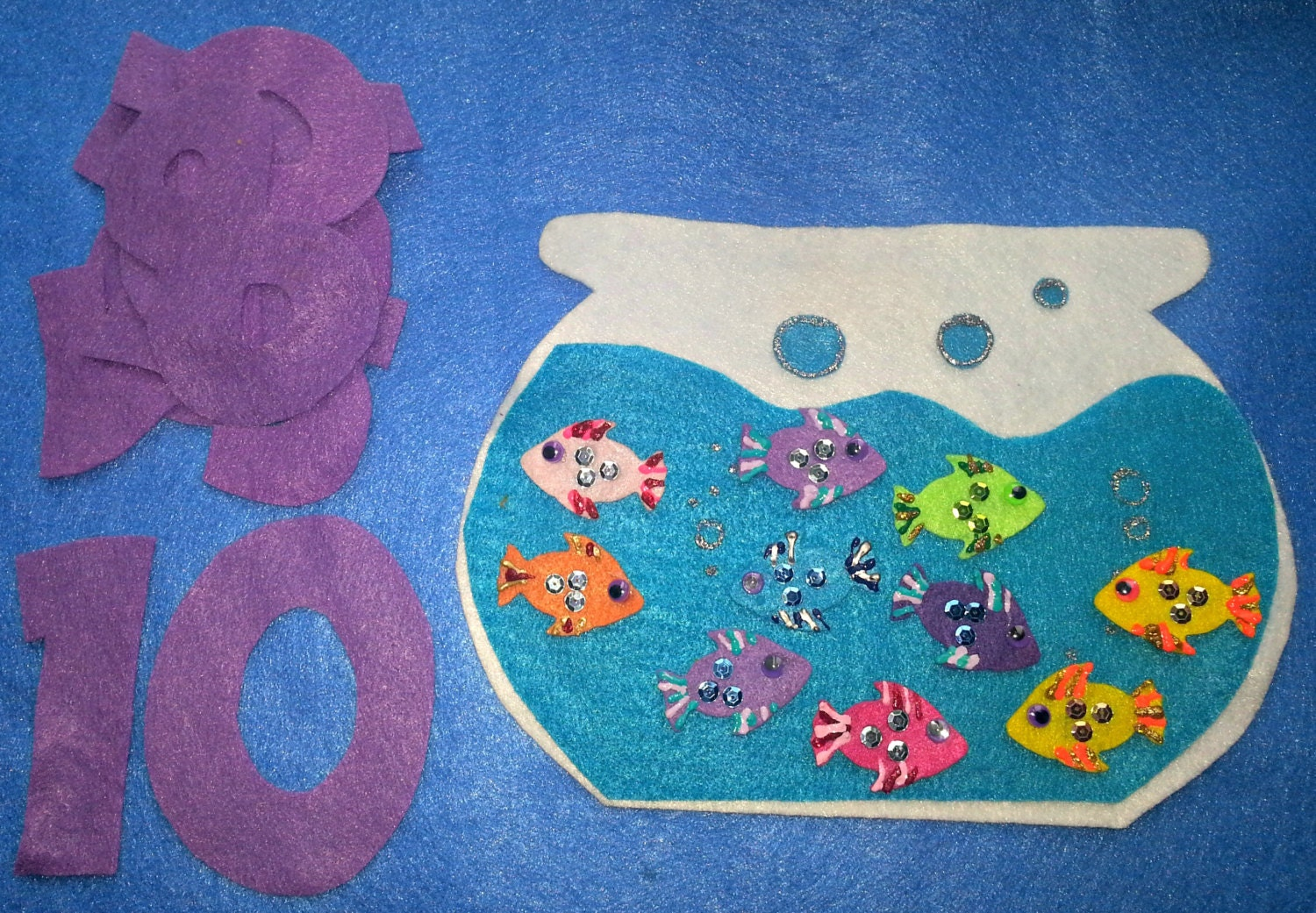 Felt board story set ten little fish in a fish bowl counting for Ten little fish