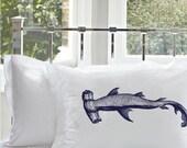 Two (2) Hammerhead Shark White Nautical Pillowcases cover pillow case Navy Blue ocean decor