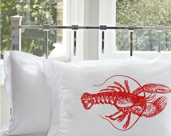 One (1) Red Lobster Standard queen White Nautical pillowcase Pillow case cover