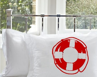 Two (2) Nautical Vintage Lifesaver Pillowcase striped Life Saver Ship RING Pillow casered whitestripes decor room coastal decoration bedroom