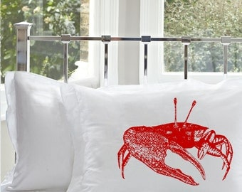 One (1) Red Fiddler Crab White Nautical Pillowcase pillow cover bedding standard queen size
