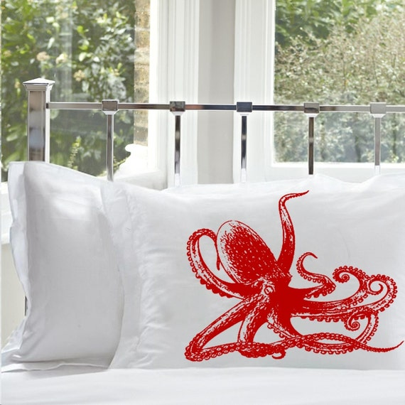 One (1) Red Octopus White Standard Nautical Pillowcase pillow cover case bedding room decor