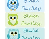 30 personalized waterproof labels name stickers owl school boy (No.N3B)