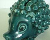 Blue glazed 1970s hedgehog Moneybox