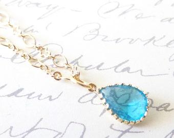 Something Blue - Crystal Teardrop Briolette Jewel Charm Necklace - Ocean Blue