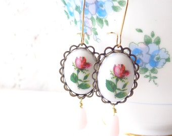 Vintage Rose Earrings - Whimsy - Whimsical - Romance - Bridal