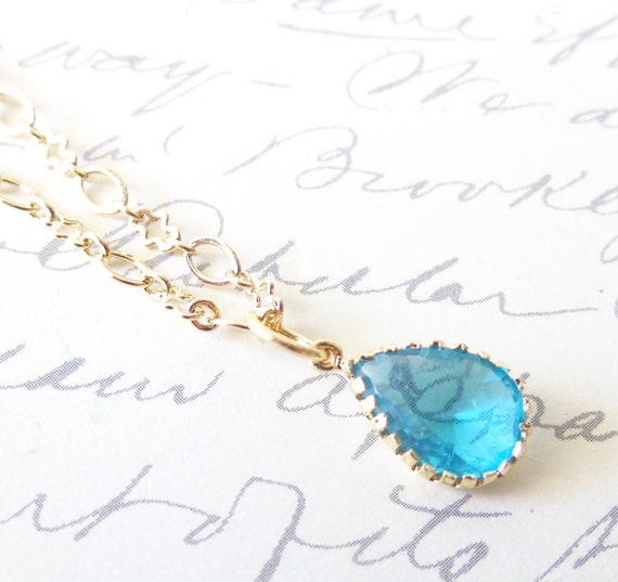 Something Blue - Crystal Teardrop Briolette Jewel Charm Necklace - Ocean Blue