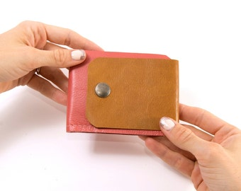 "Leather Wallet ""The Buckle Billy"" in Coral Pink & Rustic Gold"