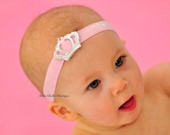 Pink Glitter Crown Headband, Baby Headband, Swarovski Rhinestone Tiara Headband, Baby Tiara Headband, Toddler Headband, Newborn Headband