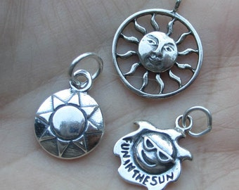 sterling silver sun charm(one charm)(you choose which one)