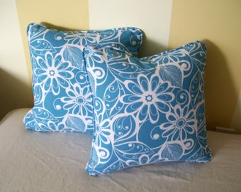 Coastal Pillow Cover Beachy Blue Pillow 16 inch Pillow Throw Pillow