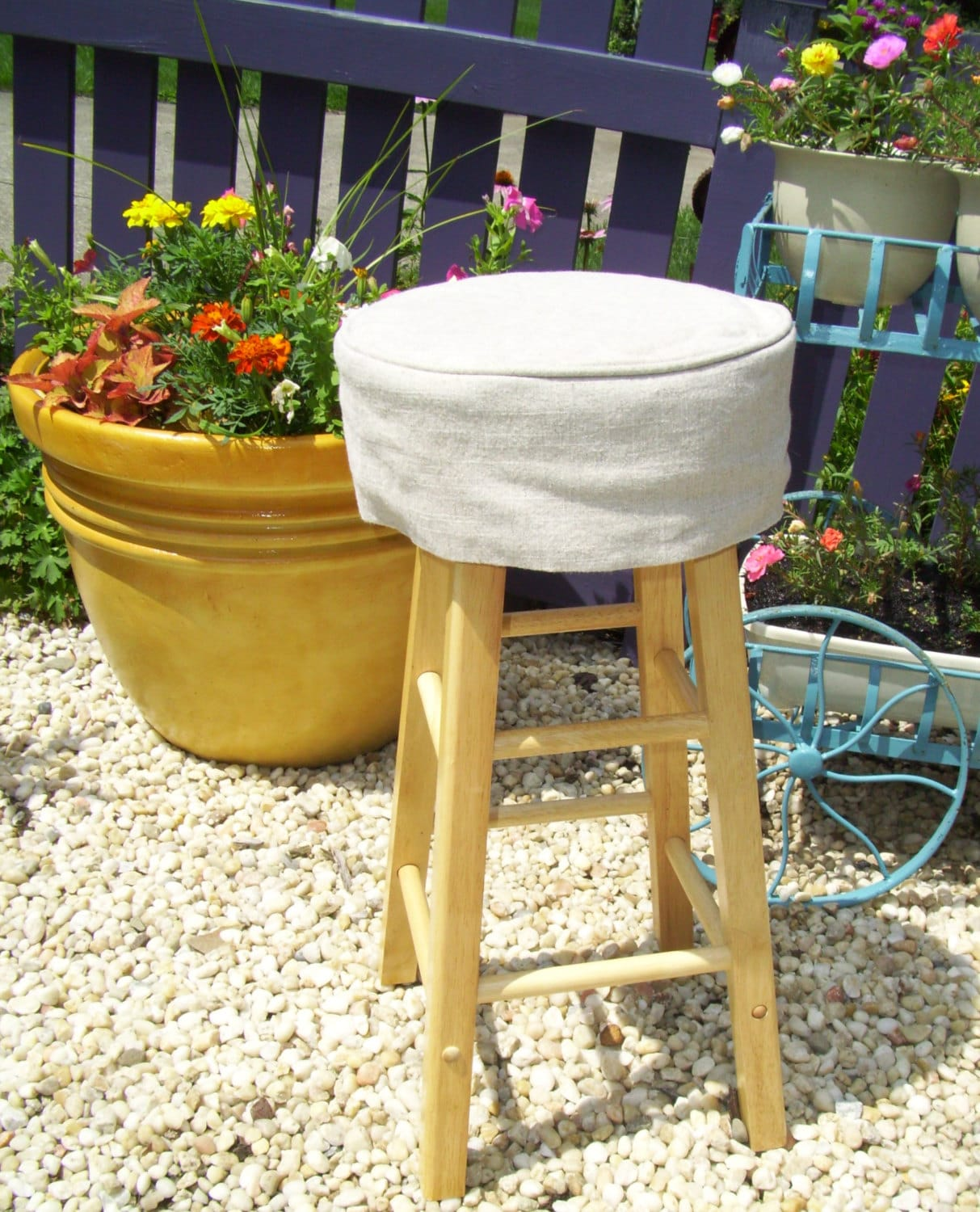 Linen Round Barstool Slipcover With Cushion 12 Inch Bar Stool