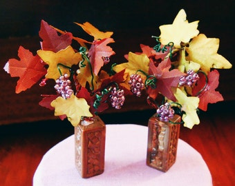 1/12 Scale (Dollhouse) Autumn Floral Arrangement Purple Glass Grapes and Autumn Leaves in a Tall Moderne Vase - Indoor Fairy Garden