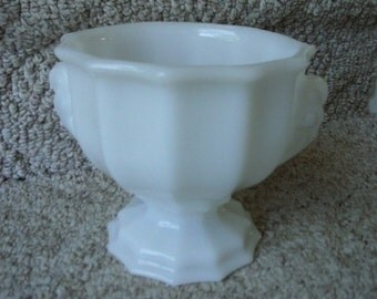 E.O. Brody Ribbed Milkglass Pedestal Planter/Vase/Urn