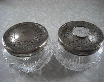 Vintage Victorian Sterling Crystal Vanity Jar and Hair Receiver