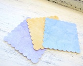 Water Color Pattern Scalloped Tags - Shipping Tags - Favor Tags - Price Tags - Scalloped Square Recycled Paper Peach tags