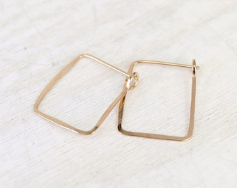Ophelia handmade earrings, short rectangle pink rose gold filled
