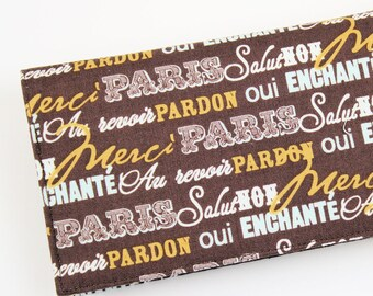 Paris Checkbook Cover for Duplicate Checks with Pen Holder,  French Script Check Book Cover, Brown Cheque Book Cover.