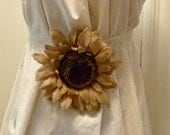 Maternity Burlap Sash Sunflower Belt Rustic Wedding Bridal