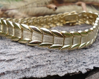 Gold Colored Silver Textured Bracelet - 1222