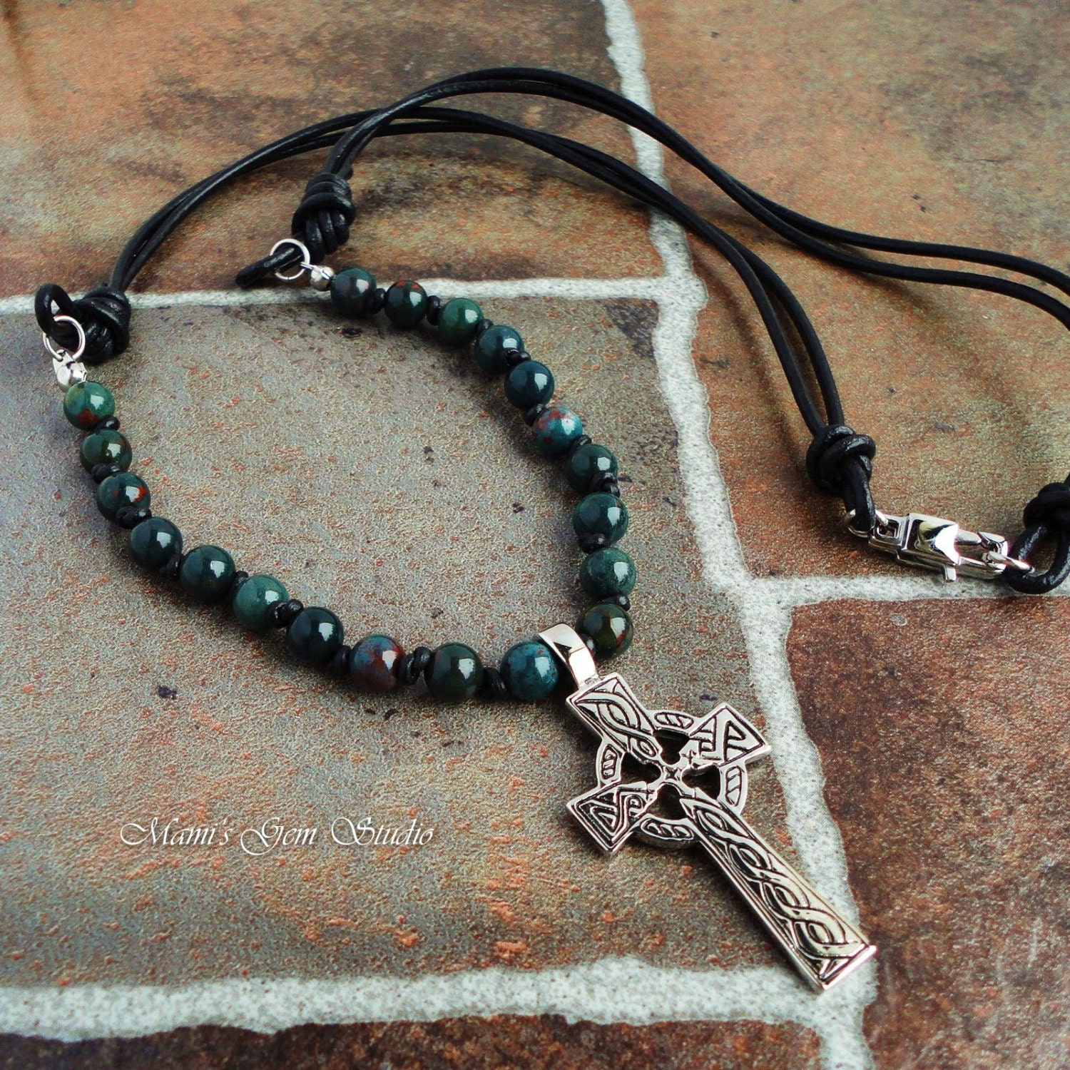 Mens Necklace Celtic Trinity Knot Cross Green by ... | 1500 x 1500 jpeg 653kB