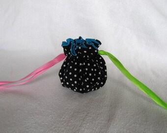 Fabric Jewelry Pouch - Mini Size - Drawstring Jewelry Bag - Jewelry Tote - FIESTA