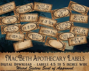 Macbeth Witch Apothecary Labels Halloween Digital Download Clip Art Scrapbook Collage Sheet Tags