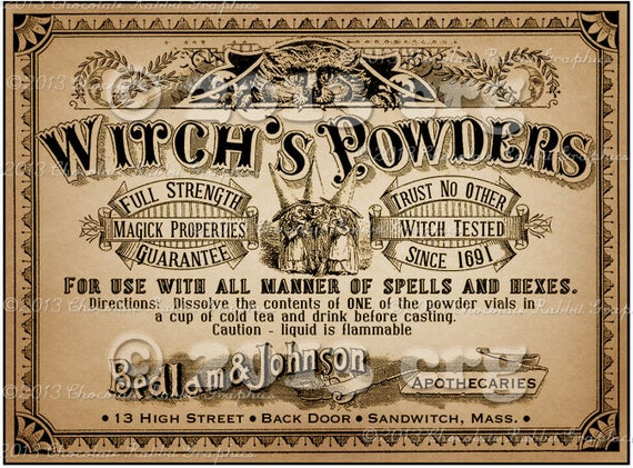 Apothecary Label Halloween Witch Potion