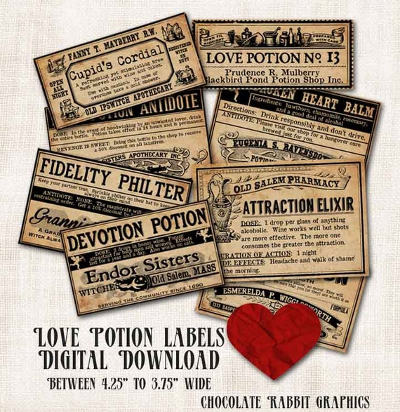 Love Potion Drink Labels: Love Potion Witch Apothecary Bottle Labels Digital Download