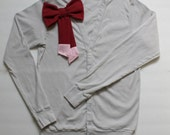 SALE--the everyday momma cardigan--signature berry and blush dipped bow on silver grey--size L--hudson & ruthie