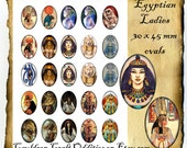 Ladies of Egypt 30 x 45 mm Ovals, Instant Digital Download Printable Collage Sheet