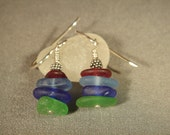 Red, Blue and Green Sea Glass Earrings