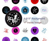 Rock Music Doodles Digital Collage Sheet - 1.313 Inch Circles for 1 Inch Buttons - Instant Download