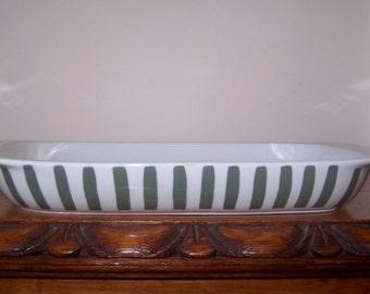 Green White Stripe, Lyngby Denmark, Casserole Dish, Serving Dish, Ceramic Baker, Mid Century Modern, Danish Design, Vintage