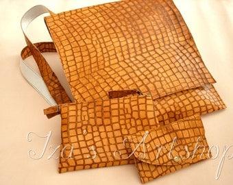 Amber Crocodile Leather Messenger Bag