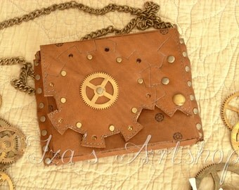Small Steampunk Leather Belt Bag VI
