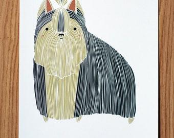 Yorkshire Terrier Wall Art, Terrier Print, Small Dog Illustration, Custom Terrier Picture