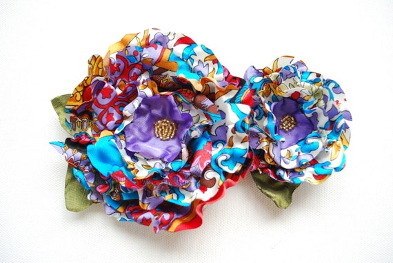 SALE- colorful satin flowers, set of two, brooch, comb, bridal hair clip, flower sash, weddings accessories, bridesmaids, red blue yellow