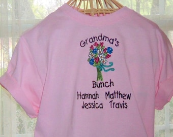 Grandma's Bunch T-Shirt Personalized Embroidered T-Shirt Pink T-Shirt