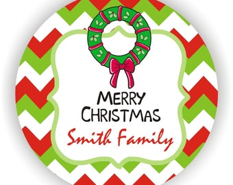 Merry Christmas Labels - Personalized Address Labels - 40 labels - 2inch circle - Happy Holidays Labels - Christmas Gift Labels
