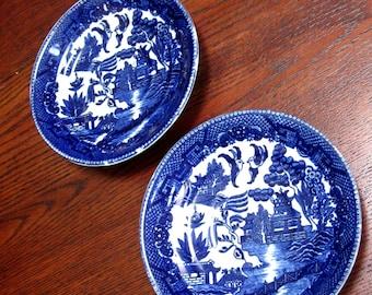 Vintage Plate Blue Willow Cobalt Blue Kakusa Saucer Occupied Japan Set of Two