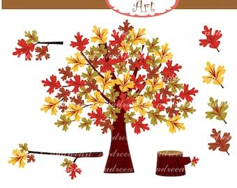 Autumn Clip Art,Oak Tree Clip Art,Autumn trees,branch ,cute autumn,fall, tree clip art, instant download
