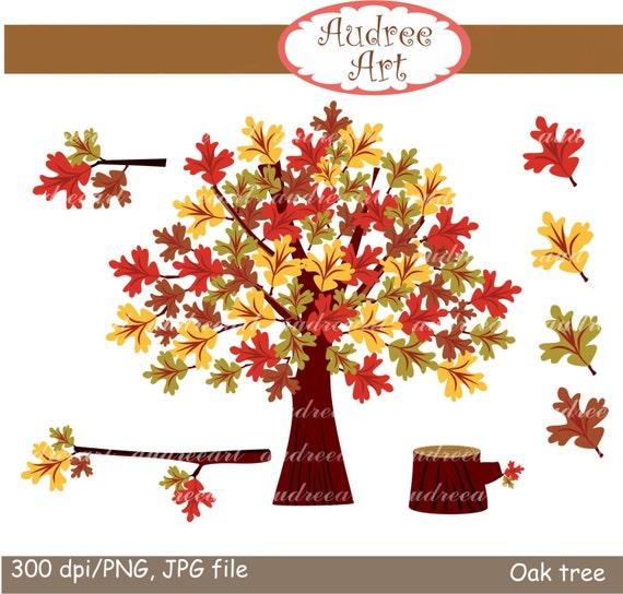 Items similar to Autumn clip art,oak tree clip art,Autumn